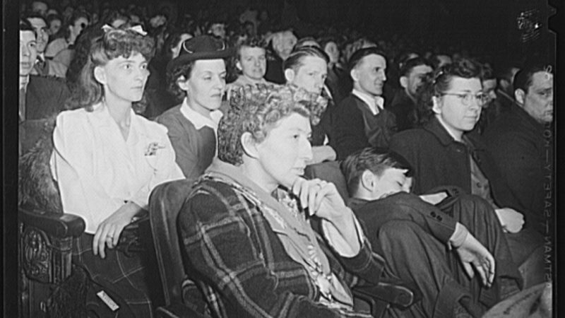 buffalo new york audience at late moving picture show which starts between